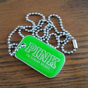 Pink dog tag necklace green